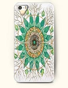 SevenArc New Apple iphone 5 / 5S Hard Back Case - MANDALA CIRCLE - Green Leaves and Branches Mandala Circle