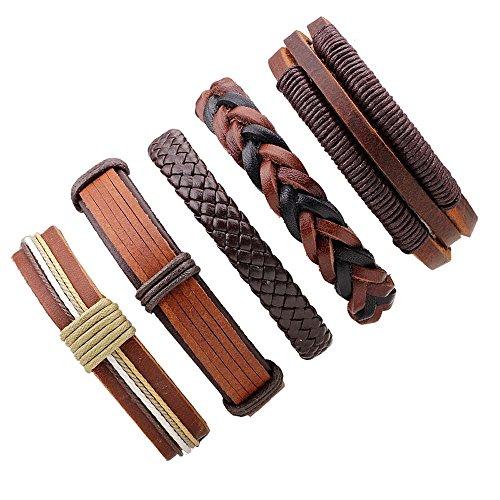 MJartoria Unisex PU Leather Hemp Cords Multi Strands Adjustable Wrap Bracelets Set of 5 (Coffee)