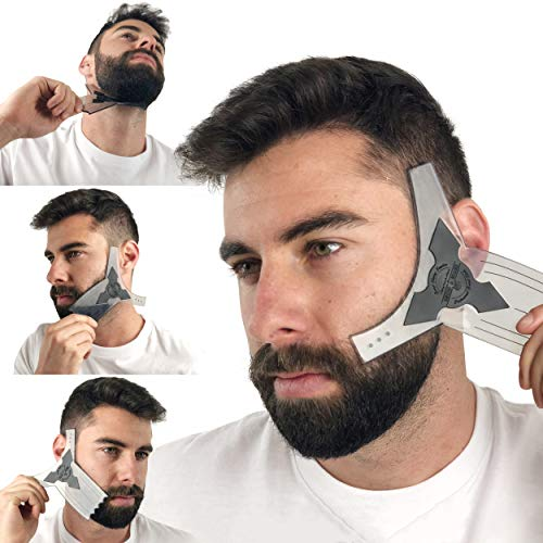 Beard Shaper Guide Template for Men's Care | All Size or Style 8 in 1 Multi-Liner Beard Shaping Tool for Barber's Touch Styling, line up, and Edging | Ideal for Facial Hair Trimmer, Razor, or Clippers (Best Beard Trim Lines)