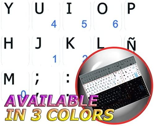 Spanish Notebook Non-Transparent White Keyboard Stickers