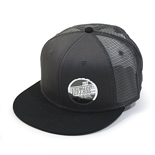 Vintage Year Plain Cotton Twill Flat Brim Mesh Adjustable Snapback Trucker Baseball Cap (Black/Charcoal/Charcoal) ()