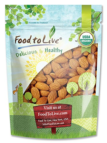 Kosher Milk Organic - Raw Organic Almonds Bulk by Food to Live (Non-GMO, No Shell, Whole, Unpasteurized, Unsalted, Kosher) — 3 Pounds