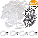 Hicarer 50 Pack R-type Cable Clip Wire Clamp, Nylon Screw Mounting Cord Fastener Clips with 50 Pack Screws for Wire Management (1 Inch)