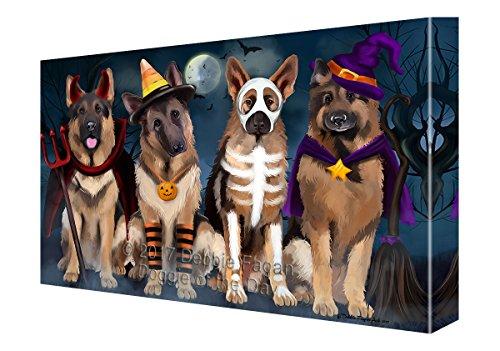 (Happy Halloween Trick or Treat German Shepherd Dog in Costumes Canvas Wall Art)