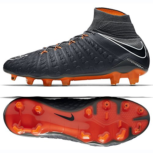 Nike Hypervenom Phantom III Elite DF FG AH7270-081 Grey/Orange Men's Soccer Cleats (8.5)