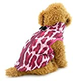 SELMAI Vest Coat with Harness Hoop for Small Dog Padded D Ring Leopard Print Cat Puppy Jacket Outfits Apparel Fuchsia S