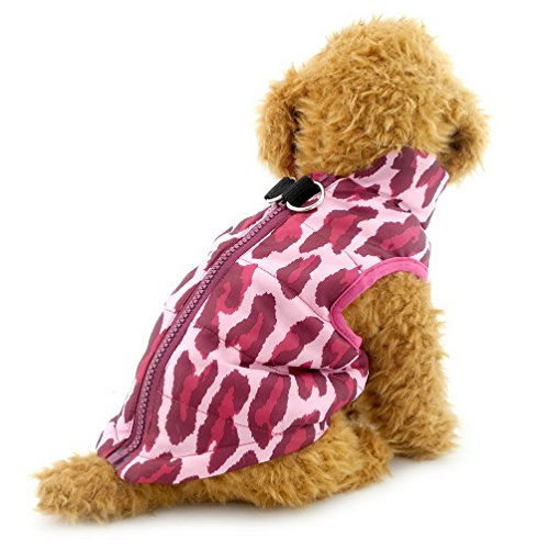 SELMAI Vest Coat with Harness Hoop for Small Dog Padded D Ring Leopard Print Cat Puppy Jacket Outfits Apparel Fuchsia M Leopard Print Dog Coat