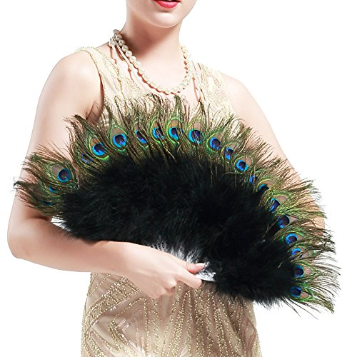 BABEYOND Roaring 20s Vintage Style Peacock & Black Marabou Feather Fan Flapper Accessories (15