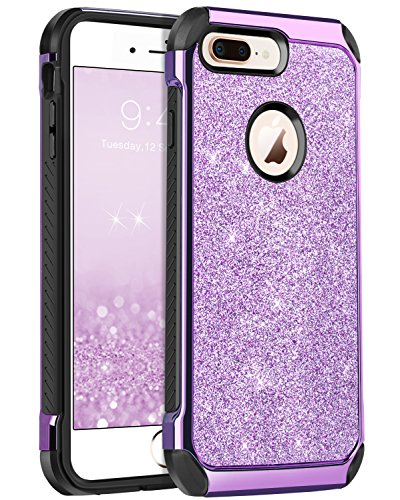 iPhone 8 Plus Case, iPhone 8 Plus Case for Girls, BENTOBEN Luxury Bling Glitter 2 in 1 Slim Hard PC Coat Sparkly Shiny Faux Leather Hybrid TPU Bumper Shockproof Protective Phone Cases Cover Purple