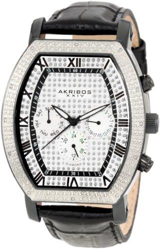Men's  Grandoise Multi Function Diamond Tourneau Swiss Quartz Watch - Akribos XXIV AKR459BK