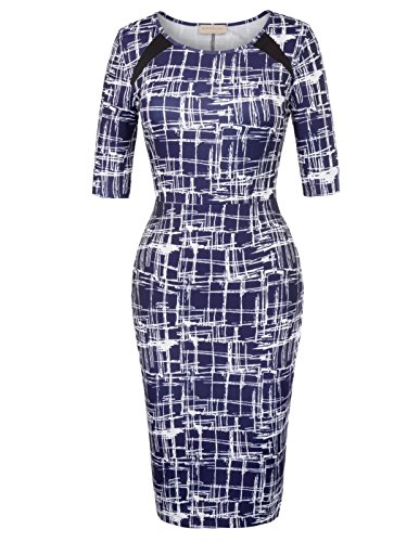 Kate Kasin Stylish Half Sleeve Wrap Dress Boat Neck Party Pencil Dress Navy Blue Size S - Half Wrap