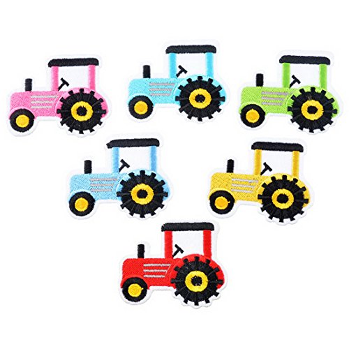 Embroidered Tractor - RainBabe Sew Iron On Applique Tractor Embroidered Patch Badge for DIY Craft Clothing Decor 6Pcs