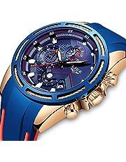 LIGE Hombre Relojes Moda Impermeable Silicona Cronógrafo Relojes Negocios Analogicos Cuarzo Relojes Clásico Azul Correa Fecha Calendario Relojes