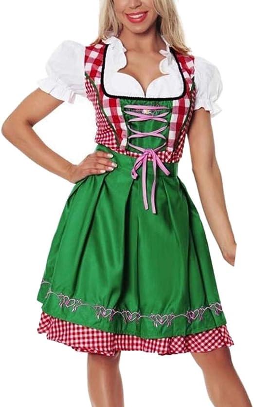 JiuRong Vestido Sexy de Mujer Oktoberfest Dirndl Disfraz de ...