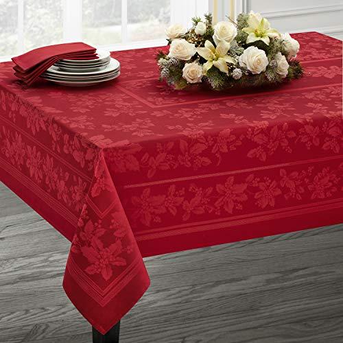 (Benson Mills Holiday Elegance Engineered Jacquard Christmas Tablecloth (RED, 60