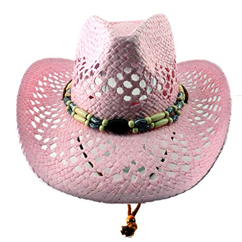 SILVERFEVER Silver Fever Ombre Woven Straw Cowboy Hat With Cut-OutsBeads Chin Strap