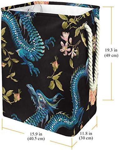 Tizorax Panier à linge en PVC imperméable Motif dragons et roses dorées