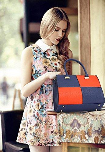 Leather Orange Faux Ladies Quality Fashion Bag Designer Women's LS00153M Handbags Chic Bags Blue wISqfpRS