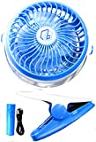 FreeFlo Portable Mini Clip On Fan For Use At Home Office Gym Dorm Room Outdoors Baby Stroller Or Anywhere Battery And USB Powered (Blue)