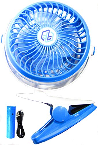 FreeFlo Portable Mini Clip On Fan For Use At Home Office Gym Dorm Room Outdoors Baby Stroller Or Anywhere Battery And USB Powered (Blue) by FreeFlo