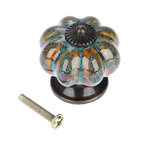 10pcs Pumpkin Drawer Knobs Pull Handles Made of Ceramic with Leopard Print (Blue,1001A)