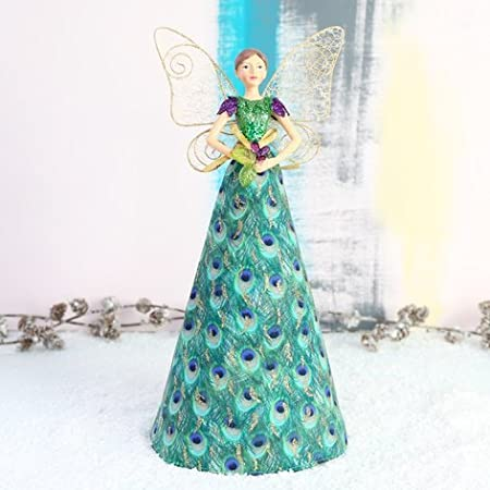 Gold Angel Christmas Tree Topper with Patterned Skirt /(18cm/) Gisela  Graham Christmas Supplies - Gold Angel Christmas Tree Topper With Patterned Skirt /(18cm