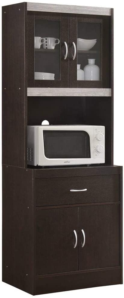 HODEDAH IMPORT HIKF96 HIK96 Choco-Grey Kitchen Cabinet, Assembled Dimensions: 70.86 in. H x 23.85 in. W x 15.75 in. D, Chocolate