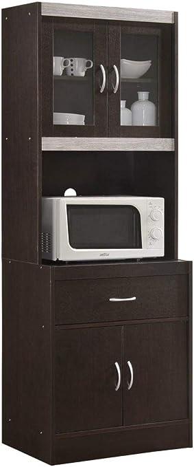 Amazon Com Hodedah Hik96 Choco Grey Kitchen Cabinet Chocolate Furniture Decor