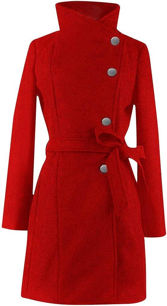 HTHJSCO Womens Winter Lapel Wool Coat Trench Jacket Long Sleeve Overcoat Outwear Red