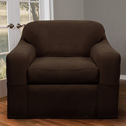 Maytex Reeves Stretch 2-Piece Chair Furniture Cover / Slipcover, Chocolate
