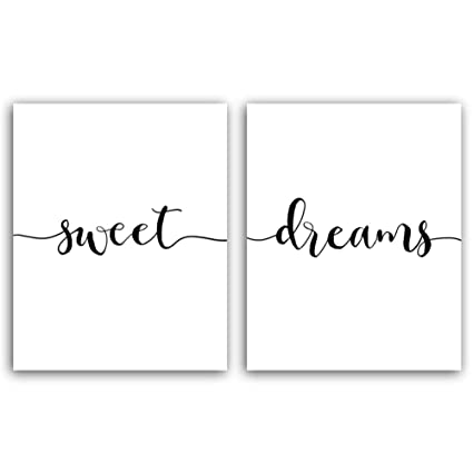 2a9fac6fc34 UNFRAMED Words Typography Sweet Dreams Quote Wall Picture Art Poster,Set of  2 Print (