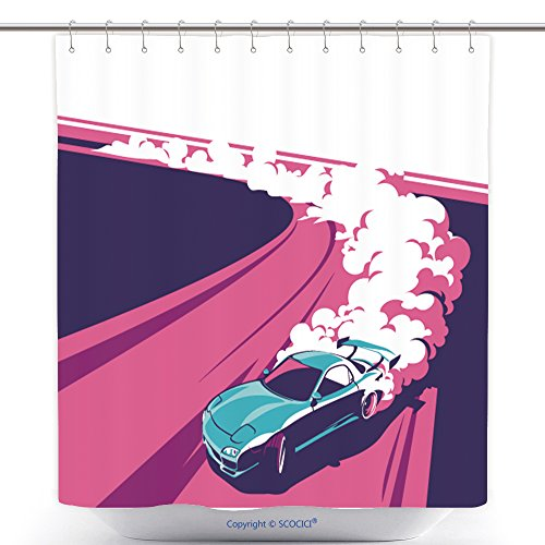 Cute Little Halloween Poems (Funky Shower Curtains Burnout Car Japanese Drift Sport Car Street Racing Racing Team Turbocharger Tuning Vector 562165666 Polyester Bathroom Shower Curtain Set With Hooks)