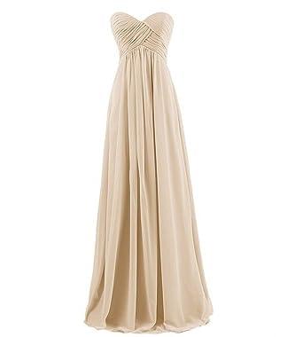 Milano Bride Herrlich Herzausschnitt Abendkleider Partykleider Promkleider  Lang Empire Rock aus Chiffon-32-Champagner