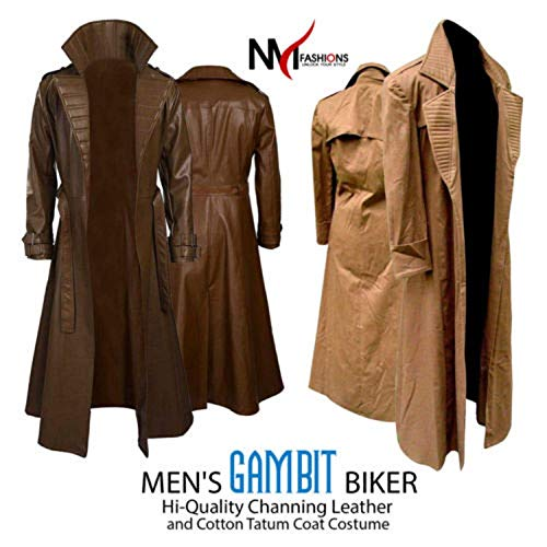 NM Fashions Channing Tatum Gambit Biker Style Leather and Cotton Trench Coat