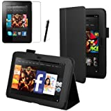 "Black Executive Multi Function Standby Case for the Kindle Fire HD 7"" Tablet (Previous Generation Tablet) 16GB or 32GB with Built-in Magnet for Sleep / Wake Feature and Stylus Loop Holder + Screen Protector + Capacitive Stylus Pen"