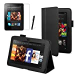 Black Executive Multi Function Standby Case for the New Kindle Fire HDX 7'' Tablet with Built-in Magnet for Sleep / Wake Feature and Stylus Loop Holder + Screen Protector + Capacitive Stylus Pen