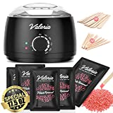 Valeria Waxing Kit with 17.5oz Painless Hard Wax Beans Special for Bikini and Sensitive Skin, Painless Hair Removal Home Kit, Wax Warmer with 20 Wax Applicator Sticks
