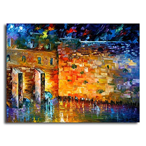 Faicai Art Jewish Art Wailing Wall Painting Canvas Wall Art Prints Famous Oil Paintings Printed On Canvas Modern Decorative Colorful Wall Posters for Home Office Decorations Stretched 24