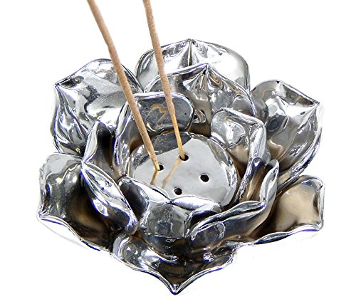 (Bellaa 25372 Silver Lotus Incense Cone Burner Votive Tea Light Candle Holder)