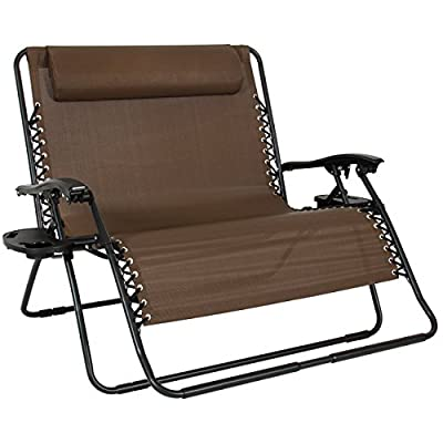 Best Choice Products 2-Person Double Wide Folding Zero Gravity Chair Patio Lounger for Backyard, Beach, Lawn w/Cup Holders -Brown