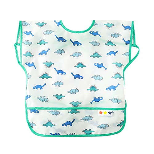 Happy Cherry Baby Infant Cartoon Bib Apron Waterproof Breathable Smock for Kids Eating Feeding (Breathable Smock)