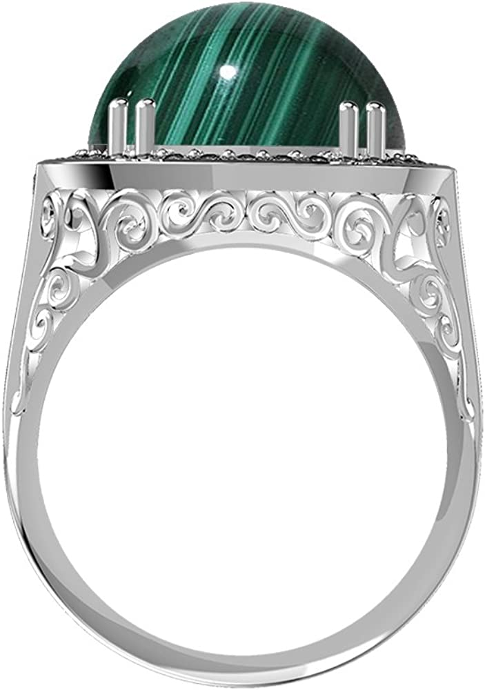 7.50ct Genuine Malachite Round /& .925 Silver Overlay Cocktail Solitaire Rings