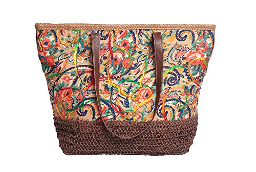 Mike & Mary Floral Printed Multicolor Shoulder Shopping Tote Handbag Summer Beach Tote