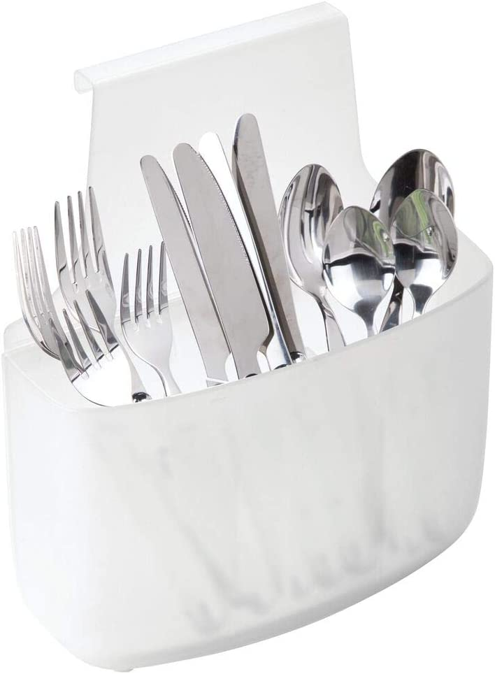 mDesign Plastic Over Cabinet Door Storage Organizer Bin for Kitchen, Pantry, Hang Outside or Inside Door - Holds Forks, Spoons, Knives, Large - Clear