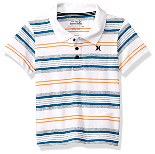(Hurley Boys' Toddler Dry Polo Shirt, White/Yellow Stripe)