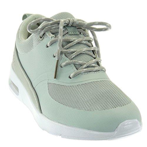 Perforato Cm 3 Tacco Da Piatto Moda Tennis Scarpe Angkorly 5 Sneaker Intrecciato Grigio Donna 4SHF6qwn