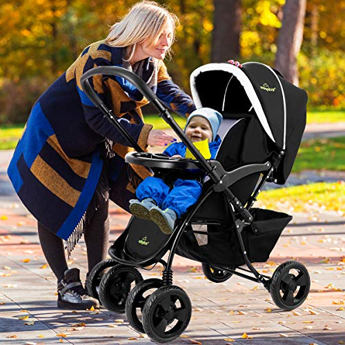 Two-Way Baby Stroller with Oriented Front Wheel and Lockable Rear Wheel, 2 in 1 Compact Folding Stroller Includes Adjustable Canopy, Back Seat, Foot Cover, Large Storage Basket (Black)