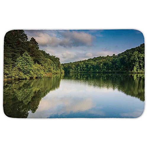 Rectangular Area Rug Mat Rug,Lake House Decor,Image of Grand Forest by the Lake and Silhouette of Trees American Countryside,Green Blue White,Home Decor Mat with Non Slip Backing by iPrint