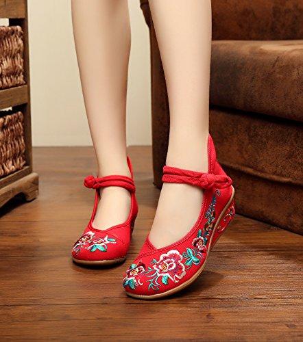 GXS Zapatos bordados, lino, lenguado, estilo étnico, zapatos femeninos, moda, cómodo, doble fondo Red