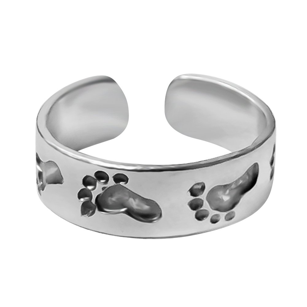 925 Designs Sterling Silver Footprints In The Sand Toe Ring - Oxidized